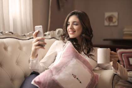 pretty,  woman,  smile,  couch,  home,  house,  coffee,  mobile,  phone,  device,  technology