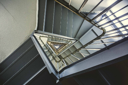 triangle,  staircase,  architecture,  modern,  indoors,  spiral,  steps,  city,  urban,  steel,  structure,  building,  endless