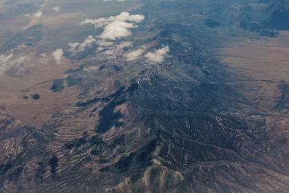 aerial, view, mountain, clouds, nature, landscape
