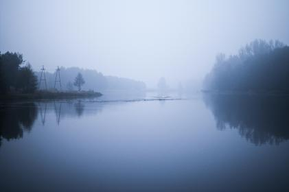 dawn, morning, river, water, fog, dark, nature, outdoors, trees, reflection, sky