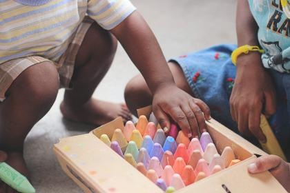 people, kid, child, african american, box, colorful, crayons, art, design