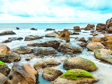 sea,   rocks,   blue,   sky,   clouds,   beach,   island,   landscape,   moss,   nature,   ocean,   sea,   stone,   travel,   water,   waves