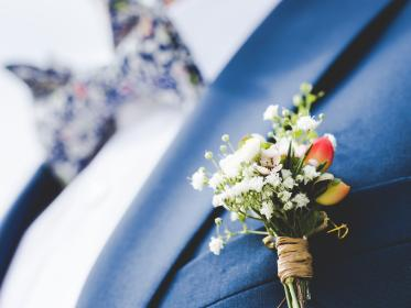 still, items, things, corsage, flowers, pin, groom, man, people, fashion, style, suit, bow, tie, bokeh