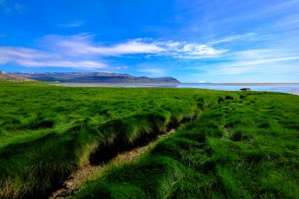 beautiful, landscape, view, nature, green, grass, lawn, field, grassland, mountain, outdoor, blue, sky, cloud, sea, ocean, horizon