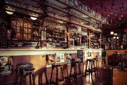 bar, drinks, beverage, alcohol, wine, glass, chair, counter, party, celebration, empty
