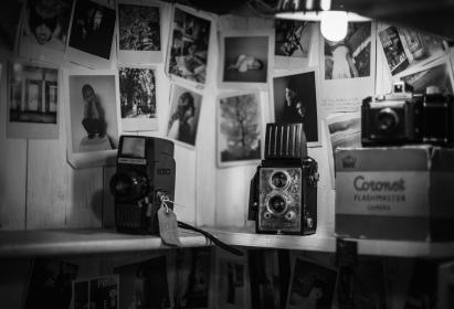 black and white, photos, wall, camera, old, light, flash, bulb, tag, pictures