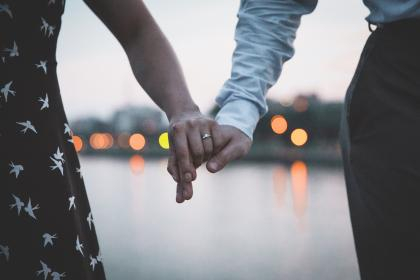 people, man, woman, couple, holding hands, engagement, ring, bokeh, water, reflection