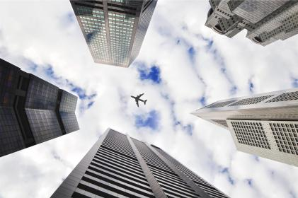 airplane, sky, buildings, towers, architecture, city, clouds, transportation, travel, trip