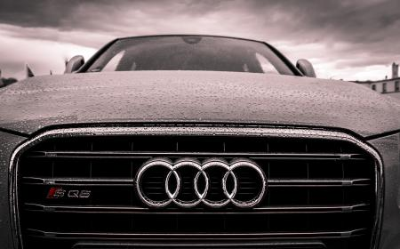 audi, car, automotive, hood, raining, rain drops, wet, cloud, storm, grill