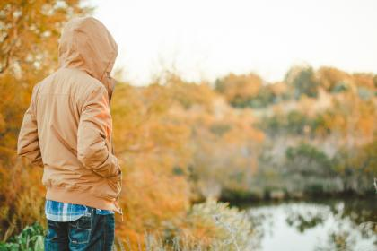 guy, man, people, jacket, coat, hood, fall, autumn, outdoors, nature