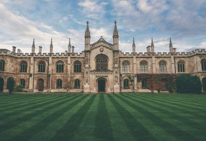 blue, sky, clouds, school, university, college, campus, cambridge, grass, field, building, trees, entrance, door, architecture, class