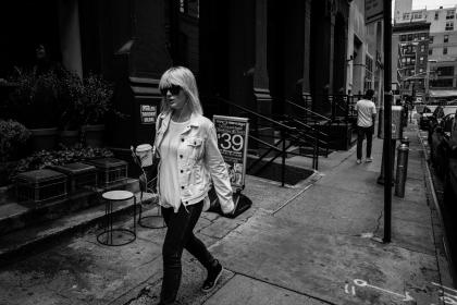 urban, city, street, walking, people, lady, girl, shades, woman, black and white, grayscale