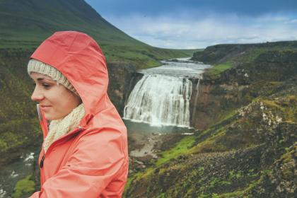 waterfall, stream, water, nature, green, grass, landscape, rocks, moss, view, people, girl, woman, orange, hood, travel, highland, blue, sky