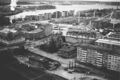 Tampere, Finland, city, aerial, view, buildings, architecture, black and white