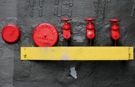 fire hydrant, alarm, sprinklers, red, yellow, wall