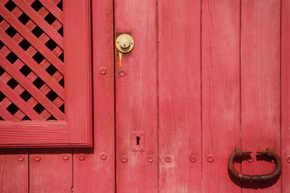 free photo of red  door