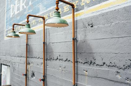 lamps, lights, pipes, wall, mural, knob, concrete