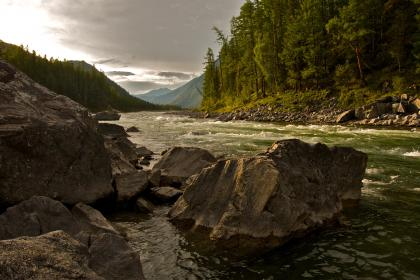 river, water, stream, rocks, stones, trees, lake, mountains, nature, sky, clouds