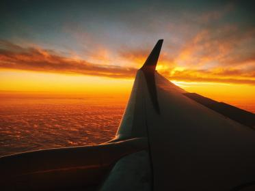 airplane, wing, sunset, sky, clouds, flying, trip, travel, transportation
