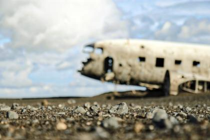 airplane, travel, adventure, plane, vacation, trip, transportation, vehicle, broken, rocks, clouds, sky