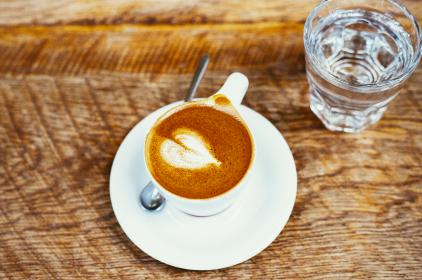 coffee, cappuccino, cafe, cup, plate, wood, table, glass, water, beverage, drink