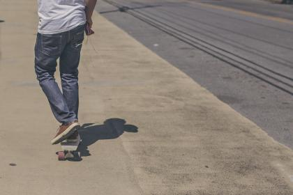 skater, skateboarding, street, sidewalk, pavement, jeans, pants, shoes