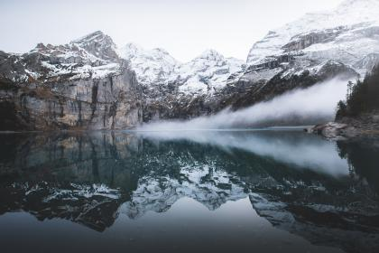 mountain, valley, highland, landscape, lake, water, reflection, fog, cold, sky