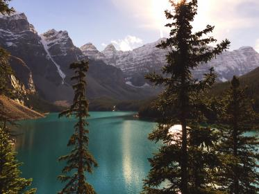 lake, blue, water, green, trees, plant, mountain, highland, nature, landscape, clouds, sunny, day, travel, outdoor