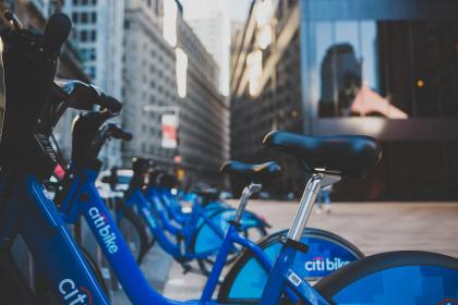 bicycle, bike, park, city, urban, street, building, citi bike, blue, new york