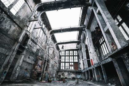 architecture, buildings, warehouse, factory, old, decrepit, steel, concrete, patterns, perspective, windows, waste