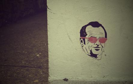 Jack Nicholson, graffiti, mural, wall, art, sunglasses, spray paint