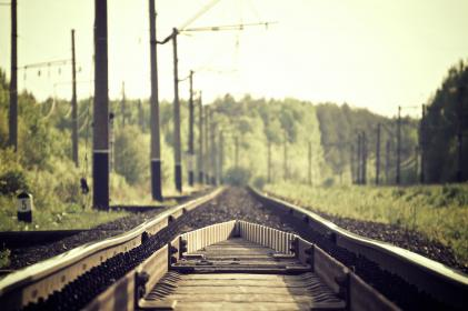 train tracks, power lines, trees, green, posts, railroad
