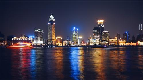 buildings, skyline, architecture, towers, high rises, night, dark, city, water, reflection, lights, urban