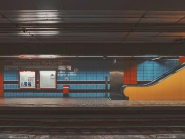 places, train, station, subway, blue, orange, yellow