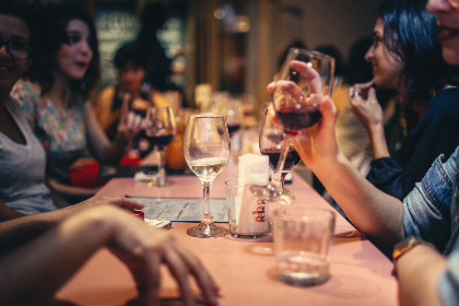 friends,  family,  wine,  people,  woman,  table,  restaurant,  bar,  red wine,  glass,  food,  drink,  group,  happy