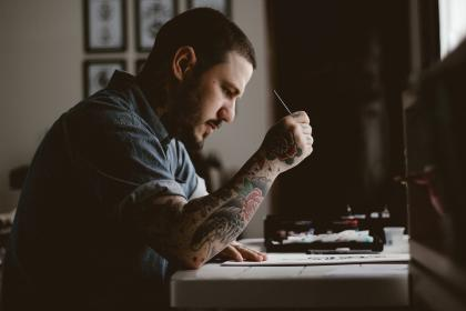 people, man, tattoo, drawing, design, artist, art, pen, paper, table, concentrate