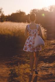 woman, girl, lady, people, back, walk, path, style, fashion, nature, outdoors, plants, bushes, trees, sky, solar, flare, light, leaks