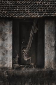 people, kid, child, poverty, poor, hammock, house, home, alone