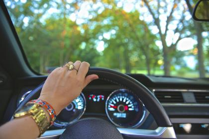 people, woman, accessories, ring, bracelet, watch, time, clock, car, vehicle, transportation, steering wheel, speedometer, trees, leaves, green
