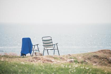 ocean, chairs, view, sky, clouds, landscape, grass, picnic, towel, shore, travel, trip, adventure, relax