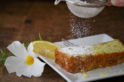 slice,  cake,  loaf,  lemon,  sugar,  plate,  dessert,  homemade,  baked,  citrus,  cooking,  food,  fork,  rustic,  flower,  powder