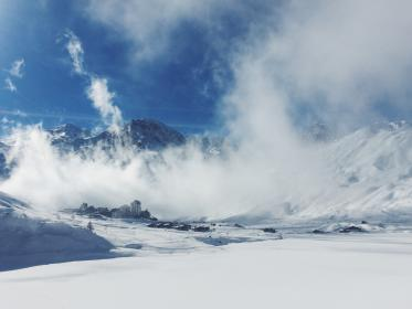mountain, cloud, sky, summit, ridge, landscape, nature, valley, hill, snow, winter, view, travel, fog, sunny, day