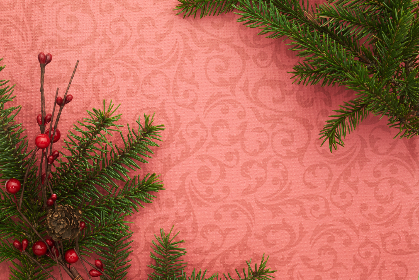 seasonal,   backgrounds,   christmas,   flat lay,   branches,   festive,   copyspace,   holiday,   red,   merry,   xmas,   background,   pine,   cone,   berry