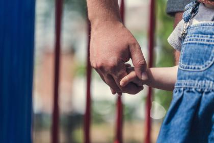 people, father, man, baby, girl, kid, child, family, bonding, outdoors, holding hands