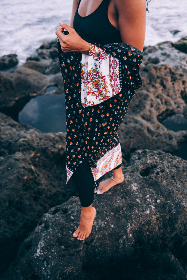ocean,   sea,   person,   coast,   shore,   vacation,   travel,   tan,   robe,   female,   woman,   necklace,   rocks,   nature,   outdoors,  feet