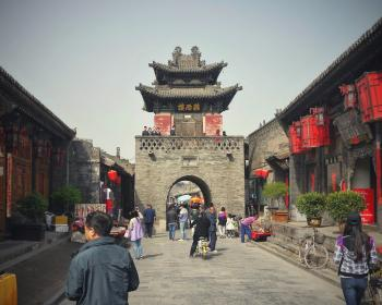street, china, old, tower, pingyao, lantern