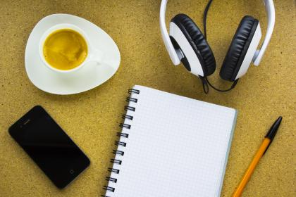 iphone, mobile, notepad, notebook, pen, paper, coffee, espresso, headphones, technology, objects