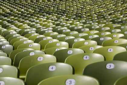 still, chairs, auditorium, lines, rows, columns, patterns, perspective, green