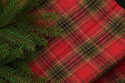 seasonal,   backgrounds,   christmas,   flat lay,   pine,   tree,   branches,   festive,   copyspace,   holiday,   merry,   xmas,   background,   plaid