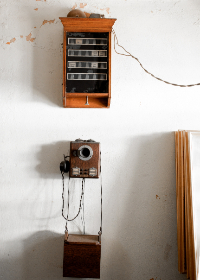 antique,  telephone,  wall,  telegraph,  technology,  communication,  old,  rustic,  vintage,  headset
